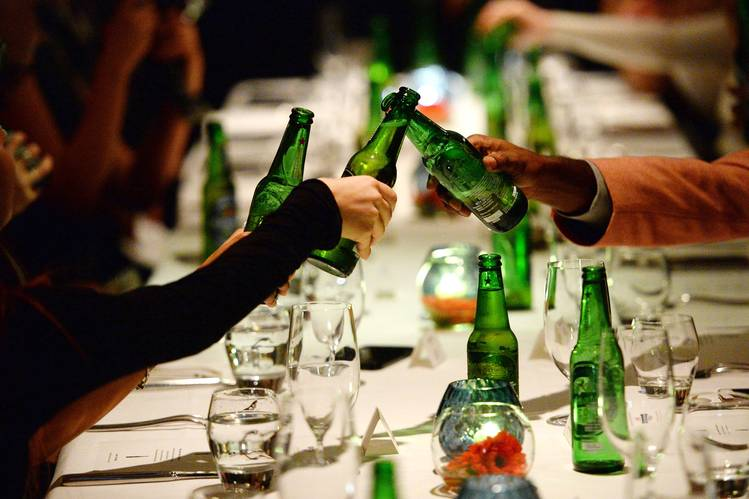 Diners toasted each other with non-alcoholic beer in London last January.