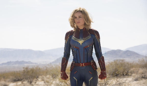 Captain Marvel suited up in Captain Marvel