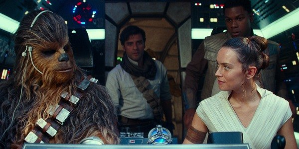 Rey, Chewie, Finn and Poe on the Millennium Falcon