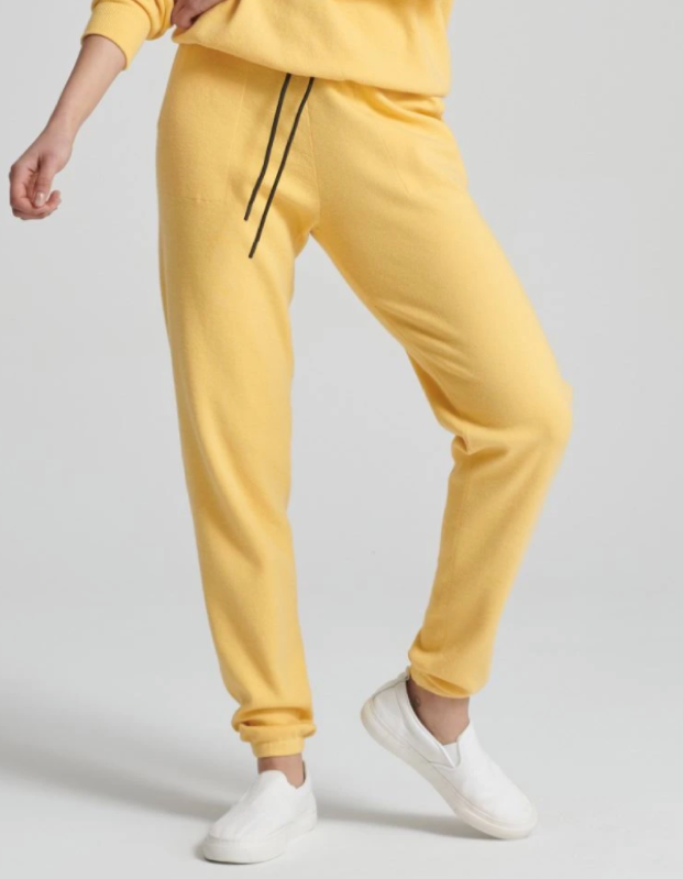 model wearing yellow pants