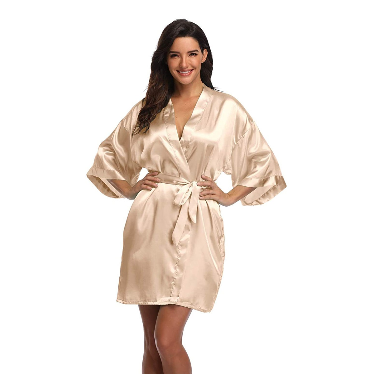 champagne silk satin robe